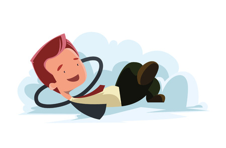 Man in clouds dreaming vector illustration cartoon character Vector