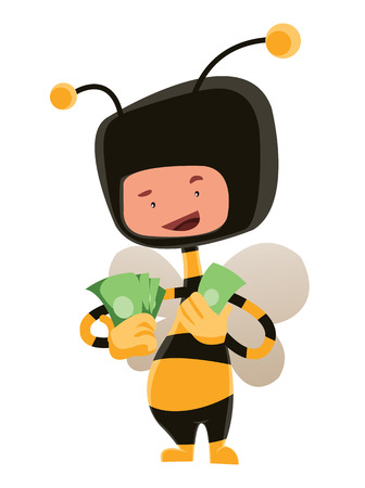 Man in honey bee costume holding money vector illustration cartoon character Vector
