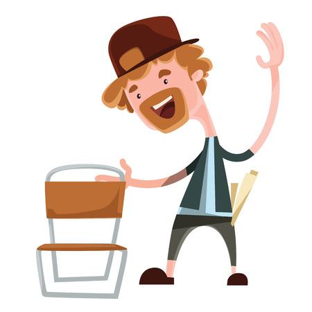 hillbilly: Happy man grabing chair vector illustration cartoon character Illustration