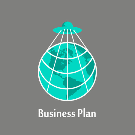 UFO captured the planet via the network. The concept of a business plan. Flat vector illustration made