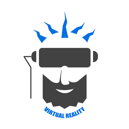 The man with the black beard immersed in virtual reality space. Flat vector illustration