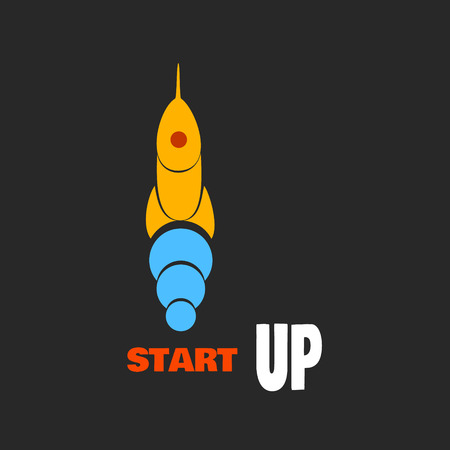 go up: The yellow rocket go up. Startup icon flat design. Vector illustration
