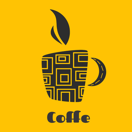 Coffee mug on a yellow background can be a great logo for your  restaurant. Flat vector illustration