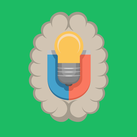 The brain is like a magnet attracts new ideas to change the world. Vector flat illustration Illustration