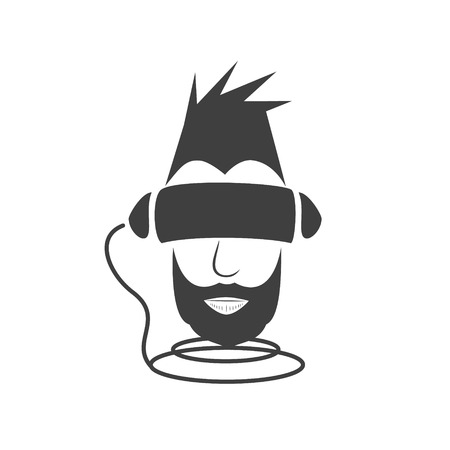 A man traveling in the virtual reality of the digital world. Black  silhouette on a white background. Vector illustration