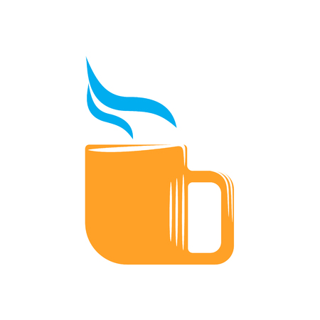 Icon of a orange cup of coffee. Vector flat illustration Illustration