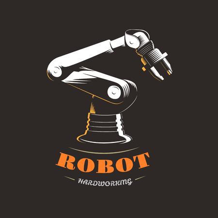 cybernetics: Automatic hydraulic robot in industrial production on a black background.