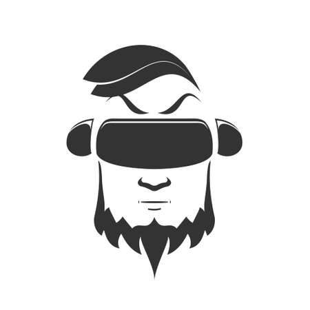 eyewear: Logo of a man with a beard in a vr helmet playing a video game. Vector black illustration on white background Stock Photo