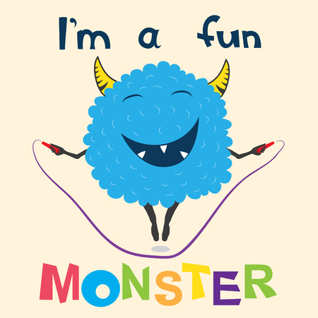 A cheerful monster jumps on the rope Illustration