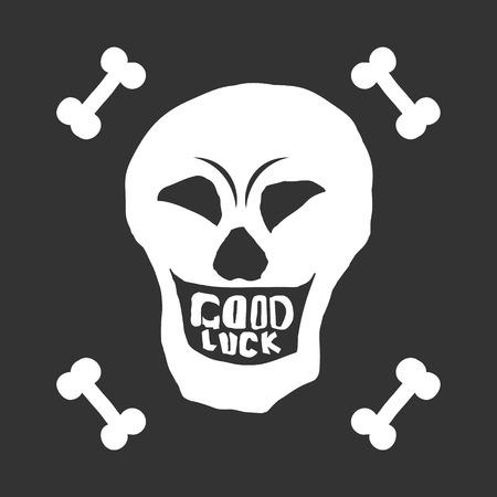 White smiling skull with bones on a black background Stock Photo