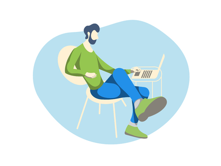 A man with a beard is sitting at the table and using a laptop is engaged in business. Vector illustration for flyers and booklets as well as for web design