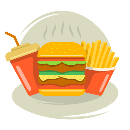 Fast food for breakfast, lunch and dinner Ilustracje wektorowe