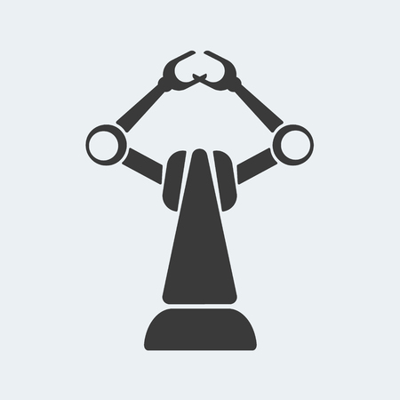 Icon industrial robot. Hydraulic robot for production in factories. Vector illustration in flat style for web design Vektorové ilustrace