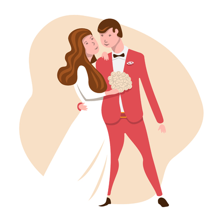 Wedding couple. The bride and groom hug and look at each other loving. Vector illustration in flat style for cards and invitations