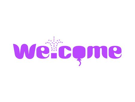 A long purple banner with text welcome Illustration