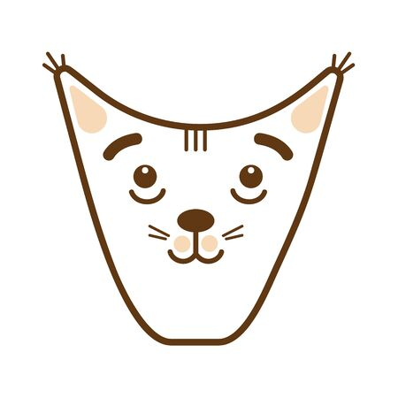 Cheerful face of a funny cat on a white background Illustration