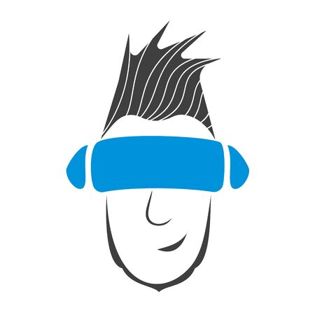 Guy wearing glasses of virtual reality is smiling Illustration