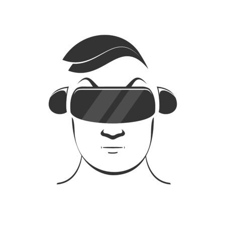 Man icon in virtual reality helmet and headset