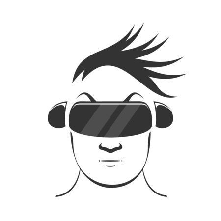 a man with bangs in virtual reality helmet Illustration