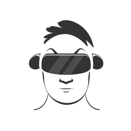 a man with a short haircut in a virtual reality helmet and headset, playing a video game. Vector black illustration in flat style on white background Illustration
