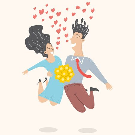 Wedding couple. The bride and groom jump with happiness at the wedding. Vector hand drawn illustration. Vector illustration in flat style for cards and invitations Illustration