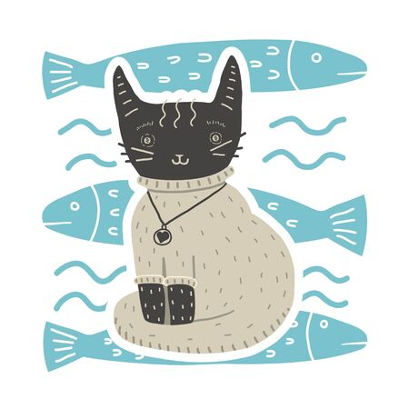 Cute cat in sweater sits on background of fish