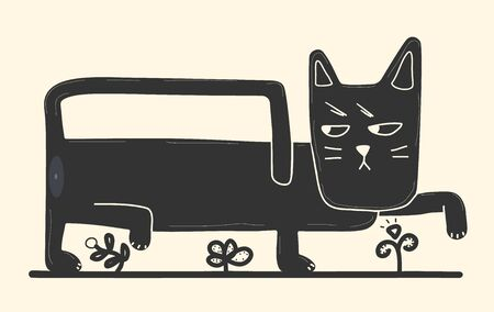 Funny black cat in cartoon style walks among the flowers. Picture of a funny black cat isolated on a white background. Vector stock illustration in cartoon style for web design and print on t-shirts