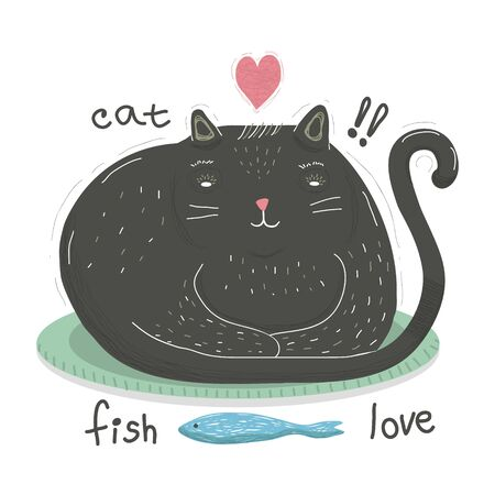 Funny cat in cartoon style sits and looks at fish. Picture of a funny and fat black cat isolated on a white background. Vector stock illustration in cartoon style for web design and print on t-shirts