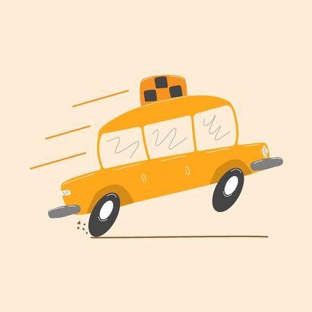 Icono de taxi aislado sobre fondo blanco en estilo de dibujos animados. Dibujo de dibujos animados divertido de un taxi. Coche para transporte por la ciudad. Ilustración de vector de estilo plano para diseño web