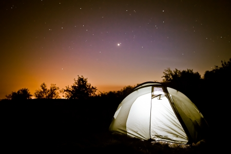 Luminescence in a tent under stars,summer