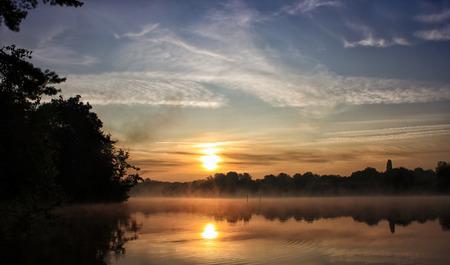 River landscape with sunrise photo