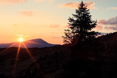 ウクライナのカルパチア山脈の夕日