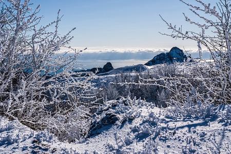 Mountains and the sea in winter Crimea, Ukraine