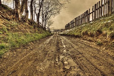 田舎道、hdr の汚れ 写真素材