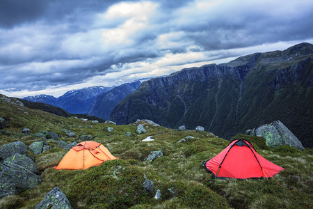 harsh: Camping in harsh Norway Stock Photo