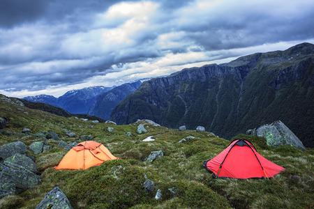Camping in harsh Norway Zdjęcie Seryjne
