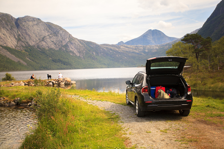 tronco: Vacaciones familiares en Myrdal lago (Myrdalsvatnet), el Parque Nacional de Folgefonna, Noruega