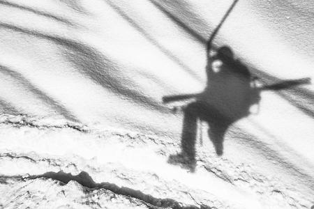 Ski chairlift shadow in ski resort Zdjęcie Seryjne