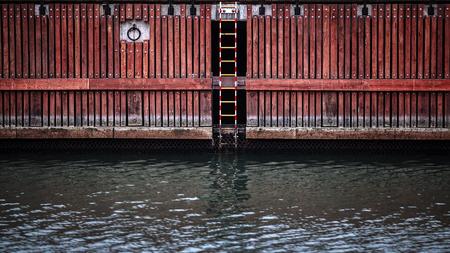 Deck on river, Gdansk, Poland Zdjęcie Seryjne
