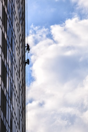 Builders of the tallest building in Kiev on high-altitude works