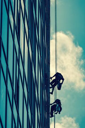高層ビルの高度作業 写真素材