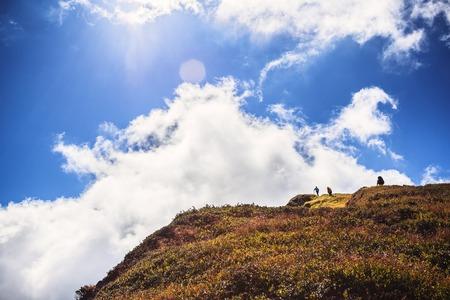 雲の下の山の観光客を登山 写真素材