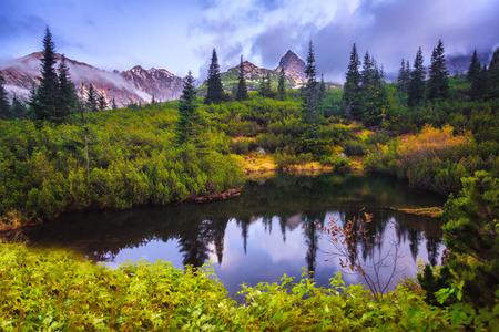 Autumn mountain lake in Polish Tatras, Carpathian mountains