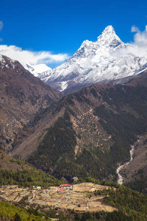 Beautiful landscape of Himalayas mountains. Everest Base Camp trek. Mount Ama Dablam. Stock Photo