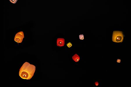 colorful lantern: Chinese lanterns flying in the night sky