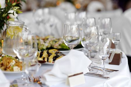 Table set for a festive party or dinner with glasses Stock Photo