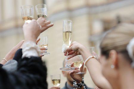 Wedding celebration with champagne glasses Stock Photo - 6227093