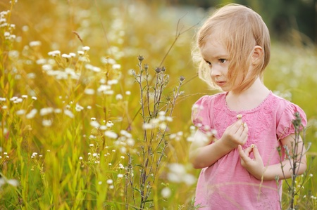 Adorable little girl in a meadow at summer or autumn photo