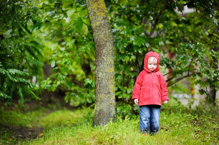 Adorable toddler girl at rainy day in autumn photo