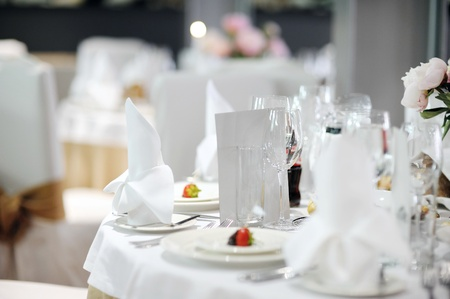 Table set for an event party or wedding reception photo